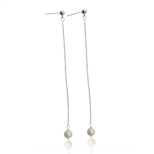 A Ørestik lang perle sølv
